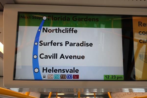 次に止まる停車駅などが分かる路線図が表示される。